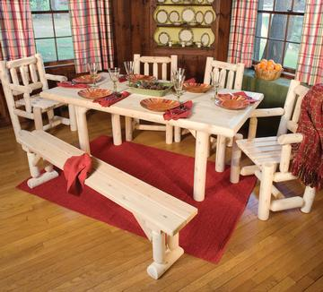 Northern white cedar log solid top family dining table for Best dining tables for families
